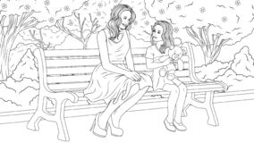 Mom with her daughter in the park. Vector illustration for coloring, mom and daughter are sitting in the park on a bench, talking to each other stock illustration