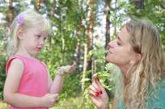 Mom with her daughter in the summer woods. Stock Photography