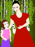 Mom with her daughter in the woods. Mom and daughter in birch forest looking at each other royalty free illustration