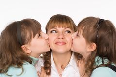 Mom with her daughters Stock Images