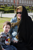 A mom and her kid on Imam Square,Isfahan Iran. stock images