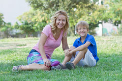 Mom and her little son in the park Stock Image