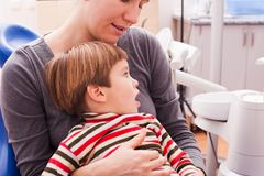 Mom and her little son visiting the dentist. Close-up portrait of a young smiling mother and her son on reception at the dentist Royalty Free Stock Image