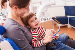 Mom and her little son visiting the dentist Stock Photography