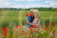Mom with her son in a magnificent meadow. The boy surprised her mother with red poppies. Mom with her son in a magnificent meadow. The boy surprised her mother stock image
