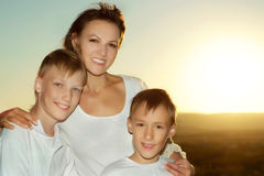 Mom with her sons Royalty Free Stock Image