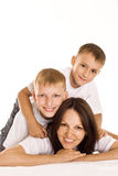 Mom with her two children Royalty Free Stock Photo