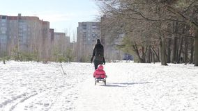 Mom and her young child in the snowy forest stock footage