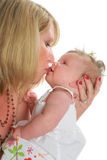 Mom Hold and Kiss Baby Girl Royalty Free Stock Images