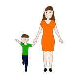 Mom holds her son's hand Royalty Free Stock Photos