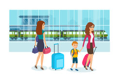 Mom holds son`s hand, and luggage, beside girl with bags. Mom holds her son`s hand and in her other hand holds luggage, next to a girl with bags, are in the Royalty Free Stock Photo