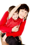 Mom hugging with a small child Royalty Free Stock Photo