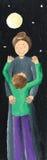 Mom hugs son. Acrylic illustration of Mom hugs son Royalty Free Stock Images