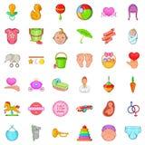 Mom icons set, cartoon style. Mom icons set. Cartoon set of 36 mom vector icons for web isolated on white background Stock Photos