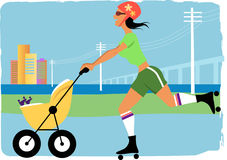 Mom jogging with a stroller Royalty Free Stock Photography