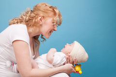 Mom keeps on hand a baby son love happiness Royalty Free Stock Photography