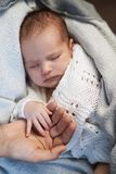Mom keeps  miniature hand newborn baby in hands Royalty Free Stock Image