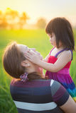 Mom and kid. Happiness in outdoor Royalty Free Stock Images