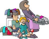 Mom, kids and their laundry. This illustration that I created depicts a mother holding a laundry basket with her kids and more laundry in the back Stock Photography