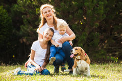 Mom with kids on a walk Stock Images