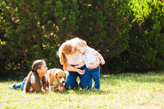 Mom with kids on a walk. Happy mother with her daughter, little son and beagle dog for a walk stock photo