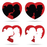 Mom kiss child vector in heart red Stock Photos