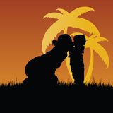 Mom kiss child vector silhouette in nature Royalty Free Stock Photo