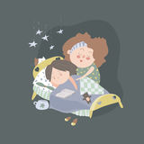 Mom kisses daughter at bedtime. Vector illustration Royalty Free Stock Images