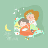 Mom kisses daughter at bedtime. Vector illustration Royalty Free Stock Image