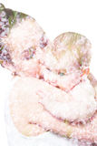 Mom kissing baby. Double exposure . mothers hugging baby on a background of beautiful flowers Royalty Free Stock Image