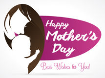 Mom Kissing her Baby and Purple Sign for Mother's Day, Vector Illustration Royalty Free Stock Photo