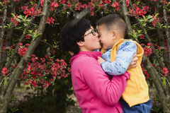 Mom kissing kid Royalty Free Stock Photography