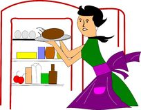 Mom in kitchen. Cartoon in retro style with mom at fridge getting dinner Royalty Free Illustration