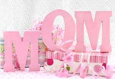 MOM letters and pretty wrapped gifts royalty free stock photo