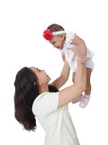 Mom lift baby up Royalty Free Stock Photos