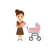 Mom with little baby. Happy mom with little baby and buggy Royalty Free Stock Photo