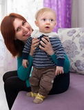 Mom with little child stock image