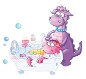 The mom and the little dragon in Bath Stock Image