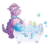 The mom and the little dragon in Bath Stock Images