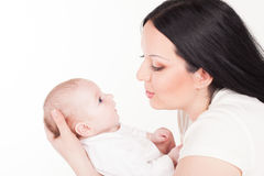 Mom and little girl love family stock photos