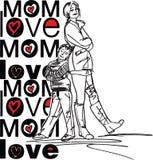 Mom love. Made in adobe illustrator Stock Photography