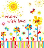 Mom with love, Childish applique with abstract colorful flowers Stock Photo