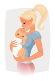Mom love vector. Mom hugs and kiss her baby Royalty Free Stock Image