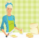 Mom makes sandwiches. Young mother prepares sandwiches with peanut butter for his family Stock Image