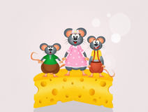 Mom mouse on the cheese Stock Photo