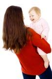 Mom och lite behandla som ett barn, en lycklig familj Fotografering för Bildbyråer