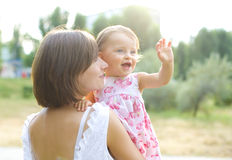 Mom and one year old daughter Royalty Free Stock Images