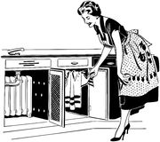 Mom Opening Cupboard Royalty Free Stock Images