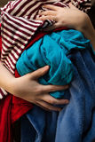 Mom Overloaded With Messy Laundry Royalty Free Stock Photos