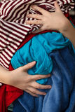 Mom Overloaded With Messy Laundry Stock Photography